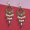 Kriaa Austrian Stone And Pearl Blue Beads Dangler Earrings - 1315514F