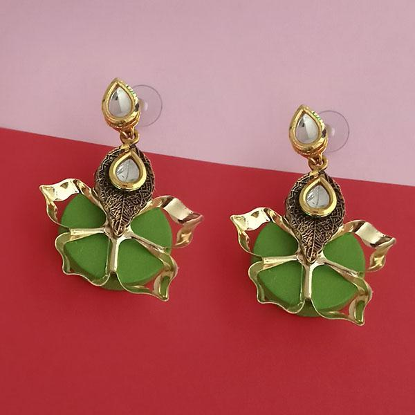 Kriaa Kundan Stone And Green Wood Dangler Earrings - 1315515B
