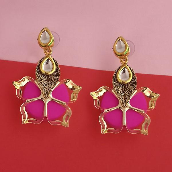 Kriaa Kundan Stone And Pink Wood Dangler Earrings - 1315515C
