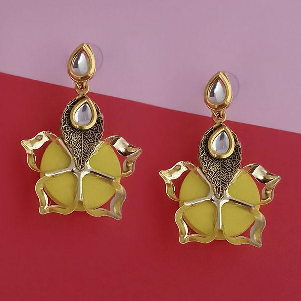 Kriaa Kundan Stone And Yellow Wood Dangler Earrings - 1315515E