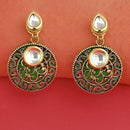 Kriaa Kundan Stone And Green Wood Dangler Earrings - 1315516B