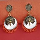 Kriaa Gold Plated Orange Wood Mirror Dangler Earrings - 1315517D