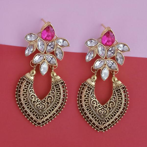 Kriaa Gold Plated Pink Kundan Stone Dangler Earrings - 1315522A