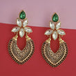 Kriaa Gold Plated Green Kundan Stone Dangler Earrings - 1315523B