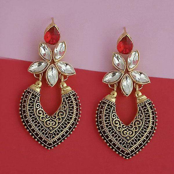 Kriaa Gold Plated Red Kundan Stone Dangler Earrings - 1315523C