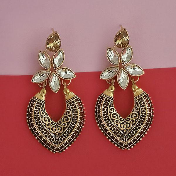 Kriaa Gold Plated Brown Kundan Stone Dangler Earrings - 1315523E
