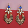Kriaa Gold Plated Blue Kundan Stone Dangler Earrings - 1315523F