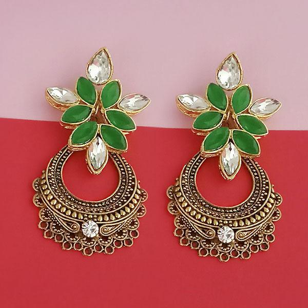 Kriaa Gold Plated Green Kundan Stone Dangler Earrings - 1315524B