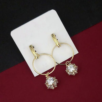Urthn Crystal Stone Gold Plated Dangler Earrings - 1315878