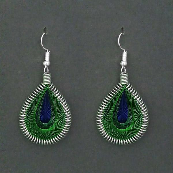 Tip Top Fashions Rhodium Plated Green Thread Dangler Earrings - 1316103