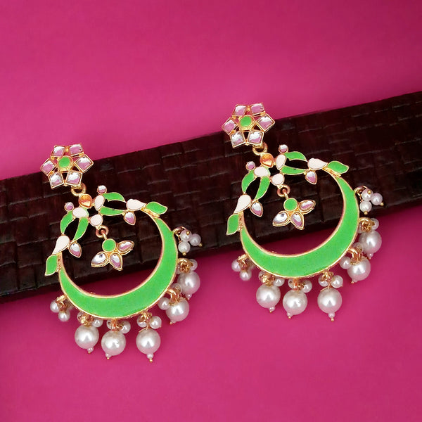 Kriaa Green Meenakari Gold Plated Chandbali Dangler Earrings