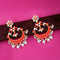 Kriaa Red Meenakari Gold Plated Chandbali Earrings