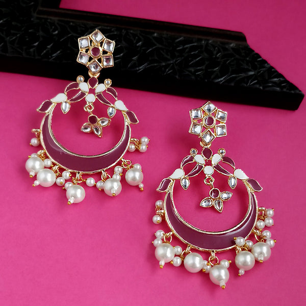 Kriaa Maroon Meenakari Gold Plated Chandbali Earrings