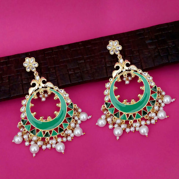 Kriaa Green Meenakari Gold Plated Chandbali Earrings