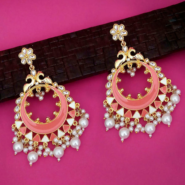 Kriaa Peach Meenakari Gold Plated Chandbali Earrings