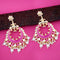 Kriaa Pink Meenakari Gold Plated Chandbali Earrings