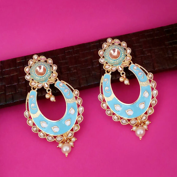 Kriaa Blue Meenakari Gold Plated Chandbali Earrings