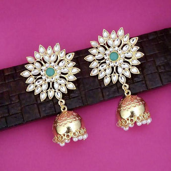 Shreeji Gold Plated Kundan Jhumki Earrings - 1316340K