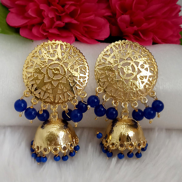 Kriaa Blue Beads Gold Plated Jhumka Earrings