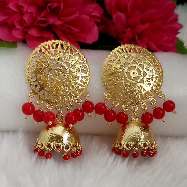 Kriaa Red Beads Gold Plated Jhumka Earrings