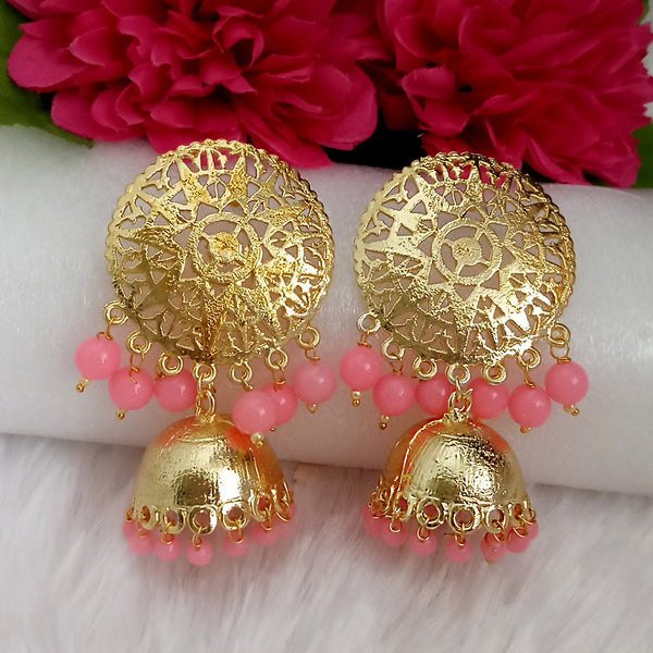 Kriaa Pink Beads Gold Plated Jhumka Earrings