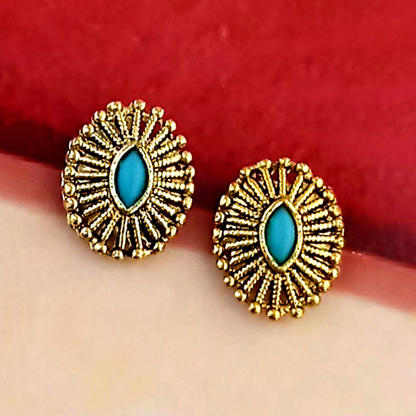 Kriaa Blue Kundan Gold Plated Stud Earrings