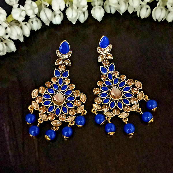 JD Arts Gold Plated Kundan Blue Dangler Earrings