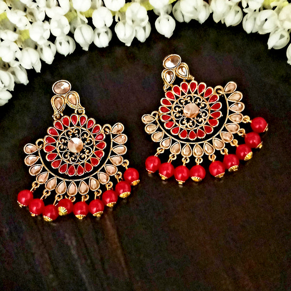 JD Arts Gold Plated Kundan Red Beads Dangler Earrings