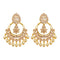 JD Arts Gold Plated Kundan Golden Dangler Earrings
