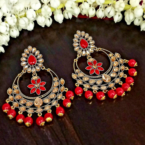 JD Arts Gold Plated Kundan Maroon Beads Dangler Earrings