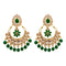 JD Arts Gold Plated Kundan Green Beads Dangler Earrings
