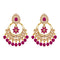 JD Arts Gold Plated Kundan Pink Beads Dangler Earrings