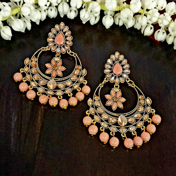 JD Arts Gold Plated Kundan Peach Beads Dangler Earrings
