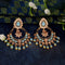 JD Arts Gold Plated Kundan Blue Beads Dangler Earrings