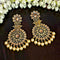 JD Arts Kundan Golden Dangler Earrings