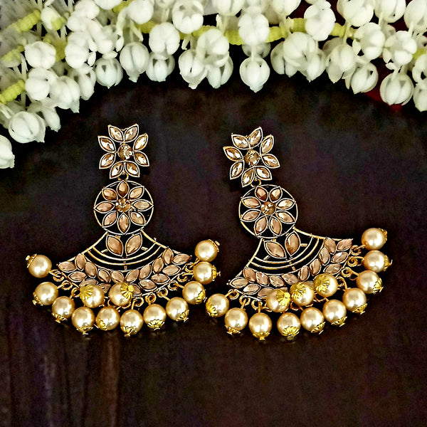 JD Arts Floral Kundan Golden Dangler Earrings