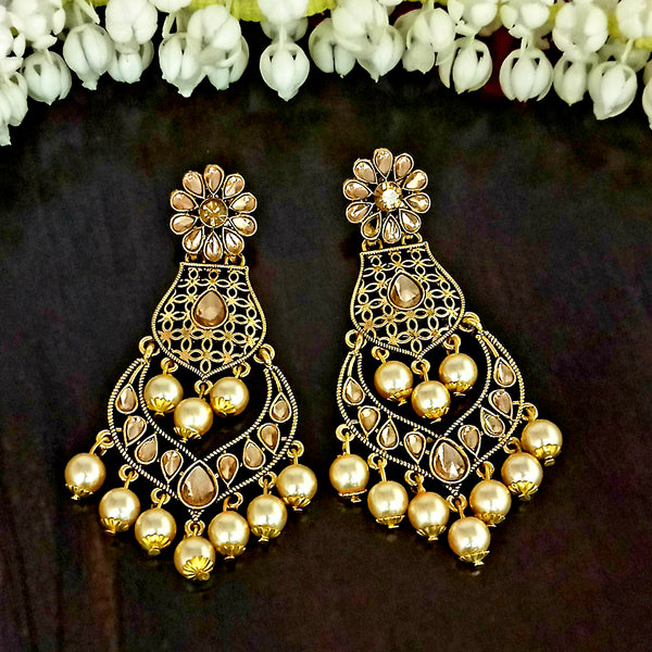 JD Arts Gold Plated White Beads Kundan Stone Dangler Earring