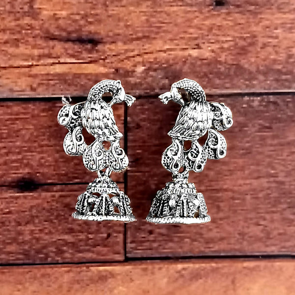 Tip Top Jewellers Oxidised Plated Jhumki Earrings