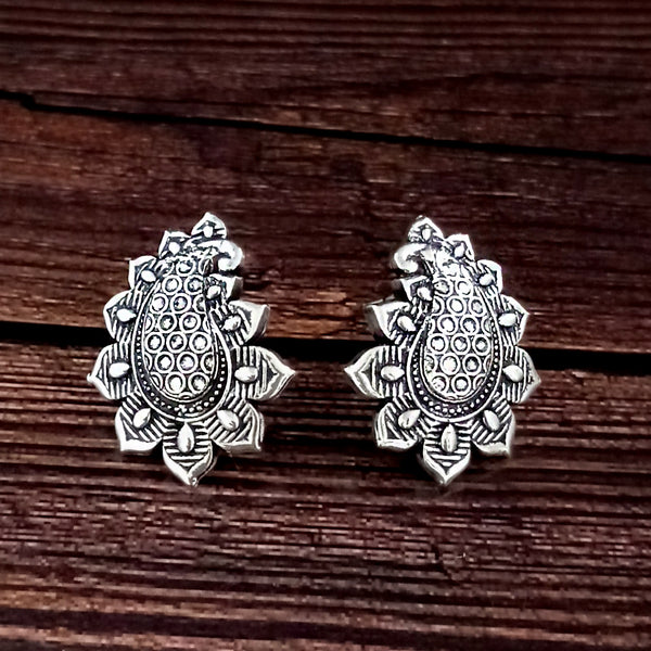 Woma Floral Oxidised Plated Stud Earrings