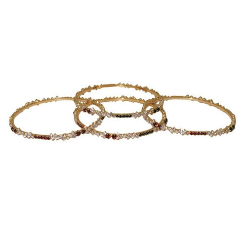 Kriaa Maroon And Green Austrian Stone Gold Plated Bangle Set - 1401001_2.4
