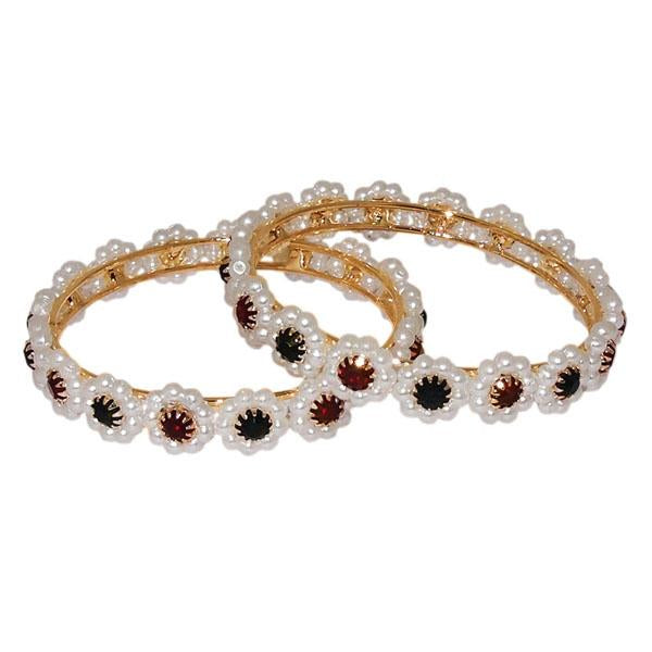 Kriaa Maroon And Green Stone Pearl Bangle Set