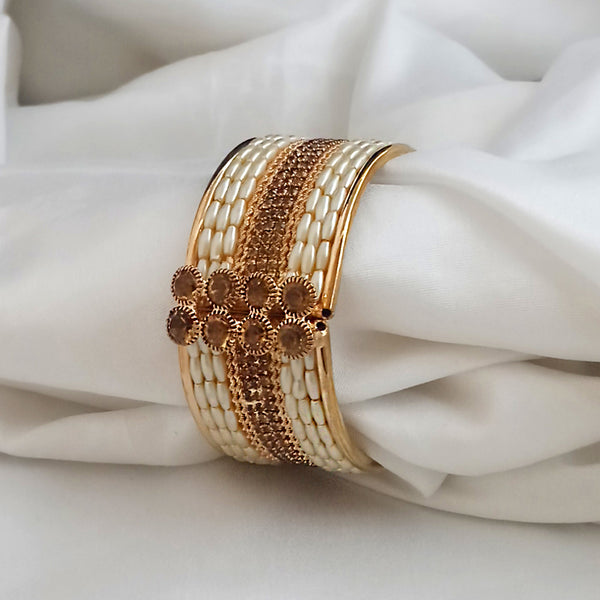 Kriaa Gold Plated Brown Austrian Stone And Pearl Kada