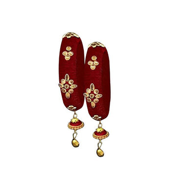 Sejal Maroon Thread Kundan Stone Bangle Set - 1403724A_2.4