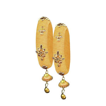Sejal Golden Thread Kundan Stone Bangle Set - 1403724C_2.4
