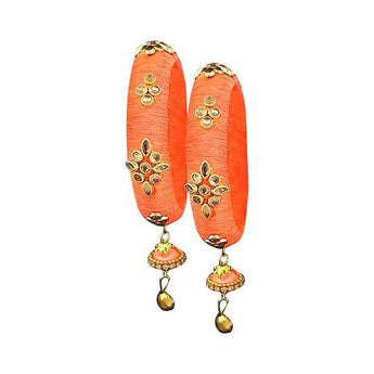 Sejal Orange Thread Kundan Stone Bangle Set - 1403724H_2.4