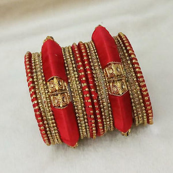 Sejal Gold Plated Maroon Austrian Stone Thread Bangle Set - 1403725_2.4