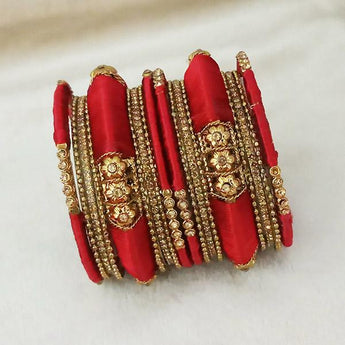 Sejal Gold Plated Maroon Austrian Stone Thread Bangle Set - 1403727_2.4