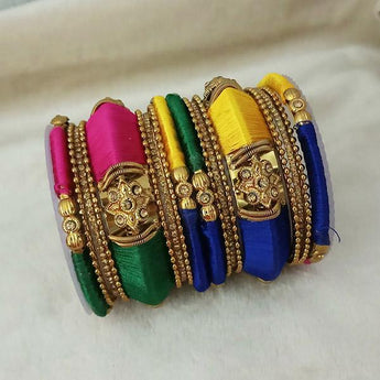 Sejal Gold Plated Multi Austrian Stone Thread Bangle Set - 1403734_2.4