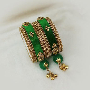 Sejal Gold Plated Green Austrian Stone Thread Bangle Set - 1403737E_2.6