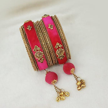 Sejal Gold Plated Pink Austrian Stone Thread Bangle Set - 1403737F_2.6